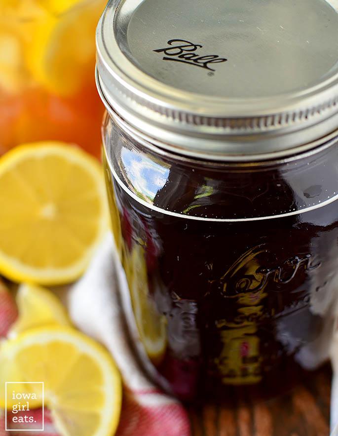 mason jar of DIY sweet tea vodka