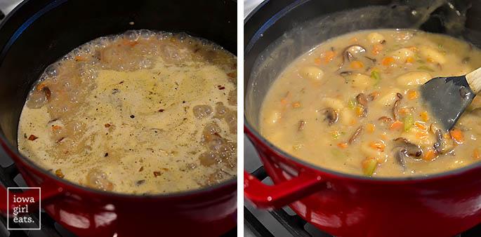 gnocchi chicken pot pie cooking in a dutch oven