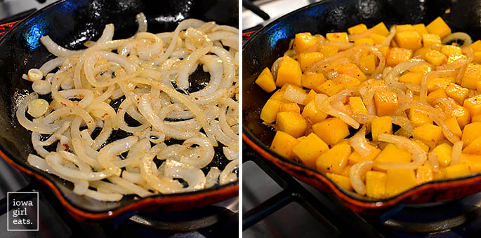 onions and butternut squash caramelizing in a skillet