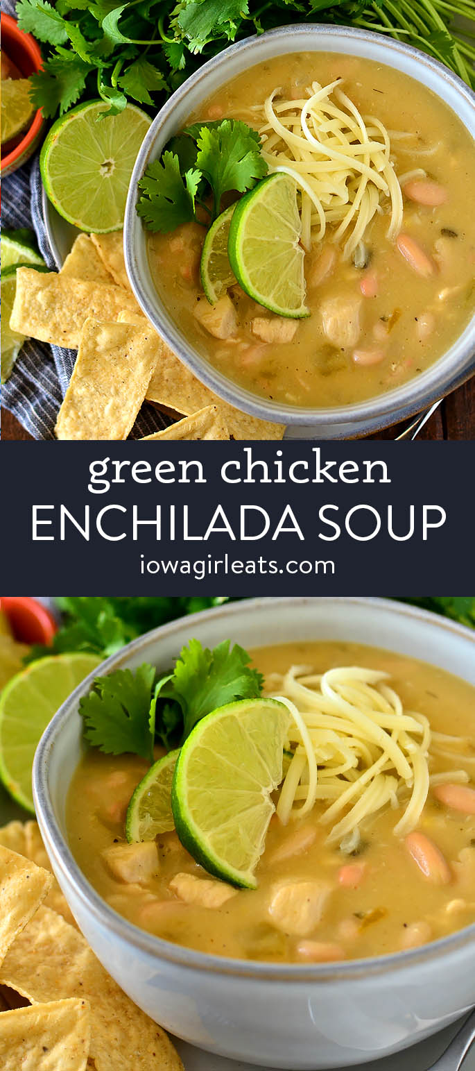 photo collage of green chicken enchilada soup