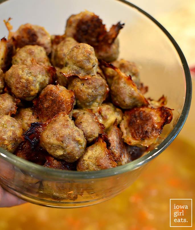bowl of homemade baked pork meatballs