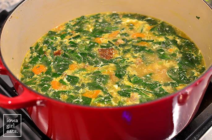Italian wedding soup in a big soup pot