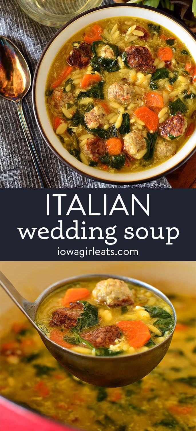 photo collage of italian wedding soup